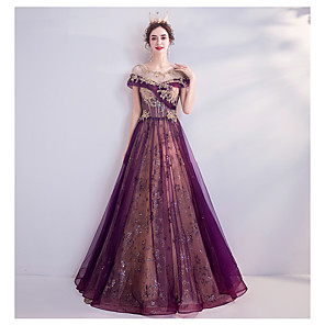 cheap Prom Dresses-A-Line Luxurious Purple Engagement Formal Evening Dress Illusion Neck Short Sleeve Floor Length Tulle with Beading Sequin Appliques 2020