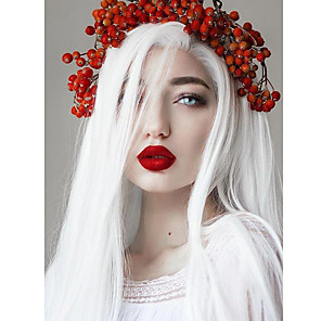 cheap Synthetic Trendy Wigs-Synthetic Lace Front Wig Natural Straight Free Part Lace Front Wig Long Creamy-white Synthetic Hair 18-24 inch Women's Cosplay Heat Resistant Party White
