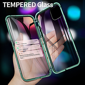 cheap iPhone Cases-Case For Apple iPhone 11 / iPhone 11 Pro / iPhone 11 Pro Max Flip / Magnetic Full Body Cases Transparent Tempered Glass / Metal