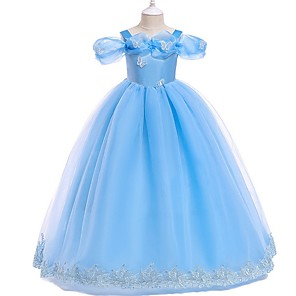 cheap Movie & TV Theme Costumes-Kids Girls' Solid Colored Dress Blushing Pink