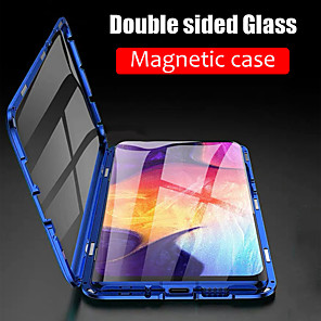 cheap iPhone Cases-Case For Samsung Galaxy S9 / S9 Plus / S8 Plus Magnetic Full Body Cases Solid Colored Tempered Glass / Metal