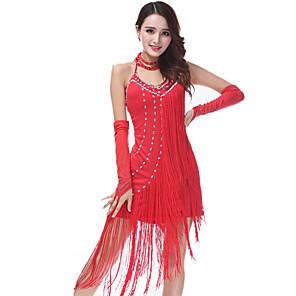 cheap Dancing Costumes-Women's Flapper Girl Latin Dance Flapper Dress Party Costume Flapper Costume Polyster Rhinestones Fuchsia Royal Blue Red Dress
