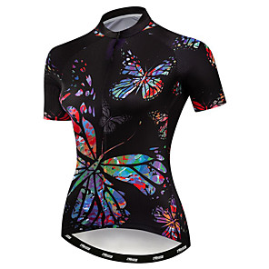 cheap Cycling Jerseys-21Grams Women's Short Sleeve Cycling Jersey Elastane Polyester Black Butterfly Bike Jersey Top Mountain Bike MTB Road Bike Cycling Breathable Quick Dry Moisture Wicking Sports Clothing Apparel