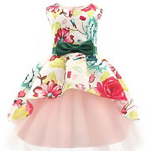 お買い得  女児 ドレス-幼児 女の子 カラーブロック ノースリーブ 膝上 ドレス ピンク