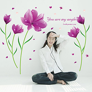 cheap Wall Stickers-Purple lily home living room bedroom TV room background decoration removable wall sticker SK9123B