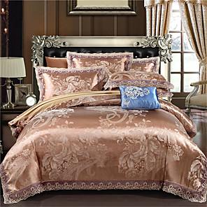 cheap Geometric Duvet Covers-Duvet Cover Sets Geometric Floral Botanical Cotton Jacquard 4 Piece Bedding Set With Pillowcase Bed Linen Sheet Single Double Queen King Size