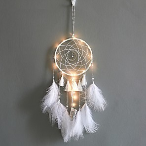 cheap LED Cabinet Lights-Dream Catcher With Lights Staycation Feathers Hand-Woven Ornaments Birthday Graduation Gift Wall Hanging Decor Home Decoration