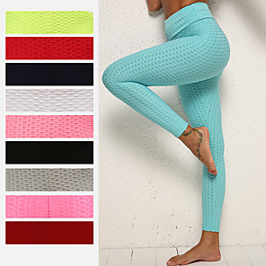 cheap Exercise, Fitness & Yoga Clothing-Women's High Waist Yoga Pants Ruched Butt Lifting Jacquard Leggings White Black Purple Spandex Gym Workout Running Fitness Sports Activewear High Elasticity Skinny