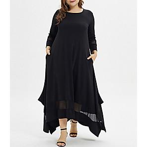 cheap Pendant Lights-Women's Plus Size Asymmetrical A Line Dress - Long Sleeve Solid Colored Casual Black XL XXL XXXL XXXXL XXXXXL