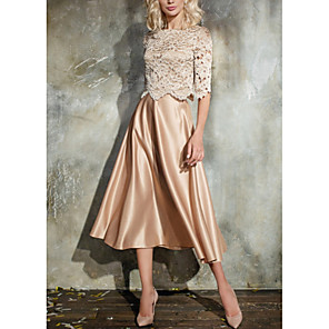 cheap Wedding Wraps-A-Line Elegant Holiday Cocktail Party Dress Jewel Neck Half Sleeve Tea Length Lace Satin with Pleats Lace Insert 2020