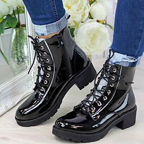 cheap Women's Boots-Women's Boots Block Heel Round Toe PU Mid-Calf Boots Fall Black