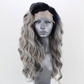 cheap Synthetic Trendy Wigs-Synthetic Lace Front Wig Wavy Side Part Lace Front Wig Ombre Long Black / Grey Synthetic Hair 18-26 inch Women's Adjustable Heat Resistant Party Ombre
