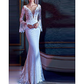 cheap Wedding Dresses-Mermaid / Trumpet Wedding Dresses V Neck Court Train Lace Tulle Long Sleeve Illusion Sleeve with 2020