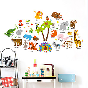 cheap Wall Stickers-SK9296 Cute Animal Paradise Children's Room Coconut Tree Background Decoration Removable Sticker