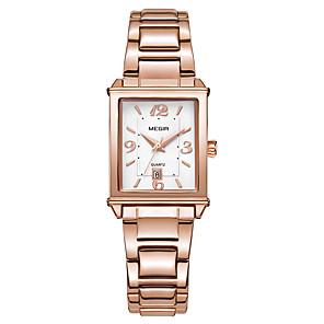 cheap Bracelet Watches-MEGIR Women's Quartz Watches Quartz Formal Style Vintage Style Vintage Water Resistant / Waterproof Stainless Steel White / Rose Gold Analog - Rose Gold White Two Years Battery Life