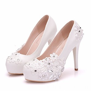 cheap Wedding Shoes-Women's Wedding Shoes Glitter Crystal Sequined Jeweled Stiletto Heel Round Toe PU Winter White