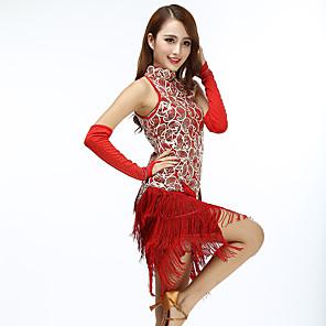 cheap Latin Dancewear-Women's Flapper Girl Latin Dance Flapper Dress Party Costume Tassel Sequins Sequin Polyster Black Black+Golden White Dress