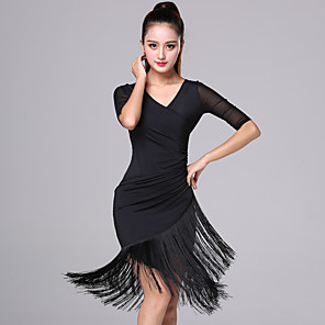 cheap Dancing Costumes-Women's Flapper Girl Latin Dance Flapper Dress Party Costume Tassel Flapper Costume Rayon / Polyester Black Red Dress