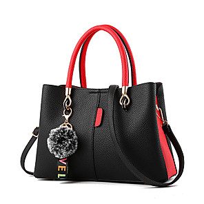 cheap Handbag & Totes-Women's Feathers / Fur PU Top Handle Bag Color Block Black / Earth Yellow / Blushing Pink / Fall & Winter