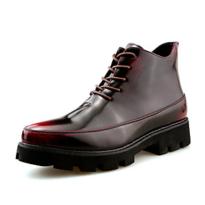 cheap Men's Sneakers-Men's Formal Shoes Leather Fall & Winter Casual Boots Walking Shoes Mid-Calf Boots Black / Gold / Red