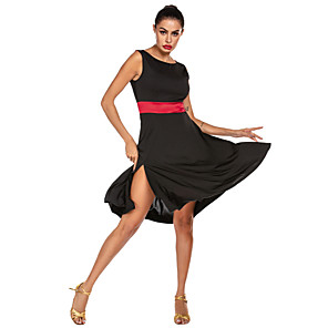cheap Latin Dancewear-Latin Dance Dress Sash / Ribbon Women's Training Performance Sleeveless Natural Stretch Satin Milk Fiber