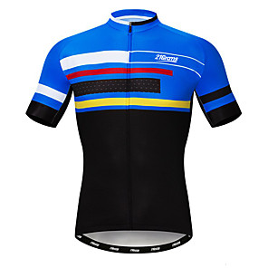cheap Cycling Jerseys-21Grams Men's Short Sleeve Cycling Jersey Polyester Elastane Lycra Blue Stripes Bike Jersey Top Mountain Bike MTB Road Bike Cycling Breathable Quick Dry Moisture Wicking Sports Clothing Apparel