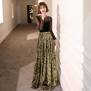 cheap Party Hats-A-Line Elegant Sparkle & Shine Formal Evening Dress Jewel Neck Long Sleeve Floor Length Sequined Velvet with Beading Sequin 2020
