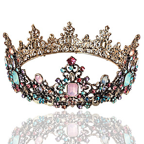 cheap Costumes Jewelry-Tiaras Wreaths Crown Masquerade Retro Vintage Gothic Alloy For Lolita Cosplay Halloween Carnival Women's Costume Jewelry Fashion Jewelry