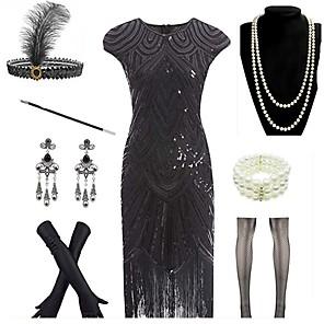 cheap Costumes Jewelry-The Great Gatsby Vintage 1920s 1930s The Great Gatsby Flapper Dress Party Costume Flapper Headband Women's Tassel Costume Bracelet Black / Golden / Blushing Pink Vintage Cosplay Festival Sleeveless