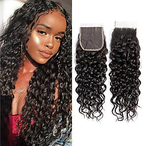 cheap Synthetic Trendy Wigs-Brazilian Hair / Vietnamese Hair 4x4 Closure Curly 3 Part Swiss Lace Virgin Human Hair / Remy Human Hair Women's Dailywear