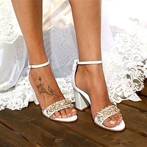cheap Wedding Shoes-Women's Wedding Shoes Boho / Beach Chunky Heel Open Toe Rhinestone Satin Sweet / Minimalism Walking Shoes Summer / Spring & Summer White