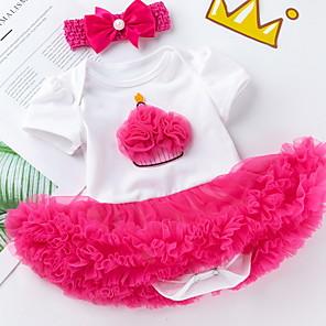 cheap Kids Collection Under $8.99-Baby Girls' Basic Color Block Short Sleeve Regular Clothing Set Blushing Pink