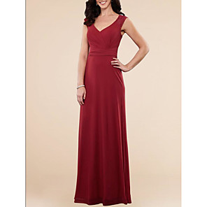 cheap Cocktail Dresses-A-Line Elegant Red Wedding Guest Formal Evening Dress V Neck Sleeveless Floor Length Chiffon Lace with Draping Lace Insert 2020
