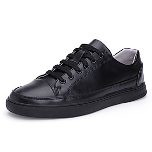 cheap Women's Boots-Men's Comfort Shoes Cowhide / Pigskin Fall / Spring & Summer Casual Sneakers Walking Shoes Breathable Black / White