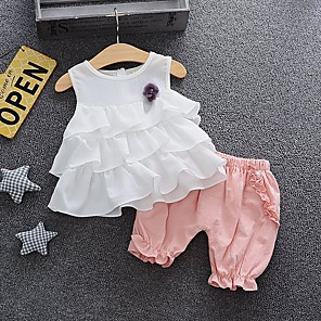 cheap Clearance-Baby Girls' Basic Solid Colored Sleeveless Regular Cotton Clothing Set White / Toddler