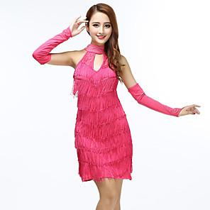 cheap Dancing Costumes-Women's Flapper Girl Latin Dance Flapper Dress Party Costume Tassel Flapper Costume Polyster Black Purple Fuchsia Dress
