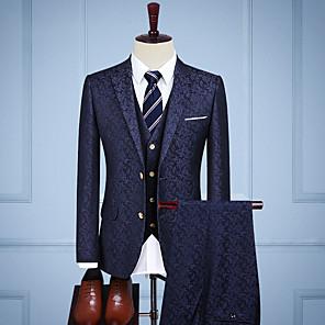 cheap Custom Tuxedo-Medium Blue Vintage Jacquard Custom Suit