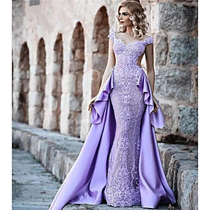 cheap Prom Dresses-A-Line Luxurious Purple Prom Formal Evening Dress V Neck Sleeveless Court Train Lace Satin with Overskirt Lace Insert Appliques 2020