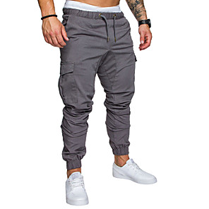 cheap Running & Jogging Clothing-Men's Sporty Streetwear Loose Jogger Tactical Cargo Pants Solid Colored Drawstring Black Light gray Dark Gray M L XL