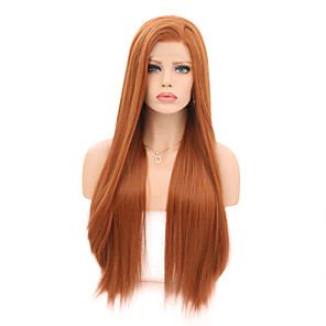 cheap Synthetic Lace Wigs-Synthetic Lace Front Wig Straight Middle Part Lace Front Wig Long Orange Synthetic Hair 18-26 inch Women's Cosplay Soft Adjustable Light Brown