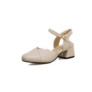 cheap Men's Sandals-Women's Heels Low Heel Round Toe PU Sweet / Preppy Spring & Summer White / Pink / Beige