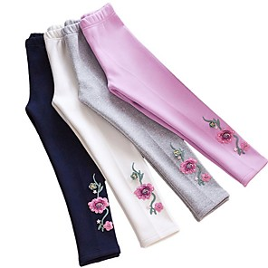 cheap Boys' Clothing Sets-Kids Girls' Floral Leggings White