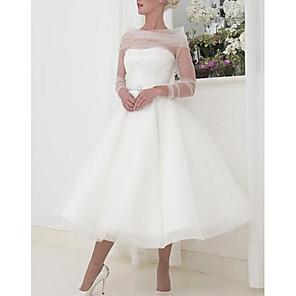 cheap Toy Cars-A-Line Wedding Dresses Bateau Neck Tea Length Tulle Long Sleeve Vintage Little White Dress 1950s with 2020