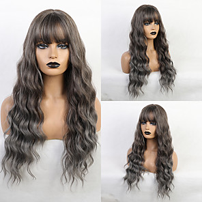 cheap Synthetic Trendy Wigs-Synthetic Wig Bangs Curly Water Wave Side Part Neat Bang With Bangs Wig Medium Length Ombre Color Synthetic Hair 24 inch Women's Cosplay Women Synthetic Dark Gray Brown HAIR CUBE / Ombre Hair