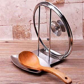 cheap Kitchen Utensils & Gadgets-Storage Tray Stainless Steel Pan Pot Lid Rack Stand Spoon Holder Stove Organizer Storage Kitchen Accessory