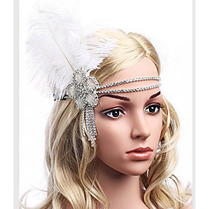 cheap Historical & Vintage Costumes-The Great Gatsby Charleston Vintage 1920s Roaring Twenties Flapper Headband Women's Feather Costume Head Jewelry White Vintage Cosplay Party Prom Sleeveless