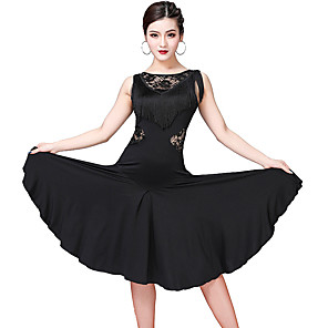 cheap Dancing Costumes-Women's Flapper Girl Latin Dance Flapper Dress Party Costume Tassel Flapper Costume Lace Polyster Black Purple Fuchsia Dress