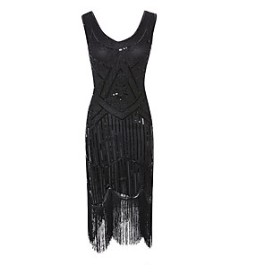 cheap Historical & Vintage Costumes-The Great Gatsby Charleston Dance Costumes Dress Tassel Crystals / Rhinestones Paillette Women's Performance Polyester