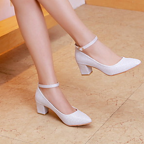 cheap Wedding Shoes-Women's Wedding Shoes Chunky Heel Pointed Toe PU Winter White / Gold
