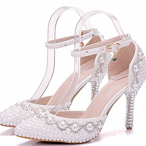 cheap Wedding Shoes-Women's Wedding Shoes Glitter Crystal Sequined Jeweled Stiletto Heel Round Toe PU Spring &  Fall White